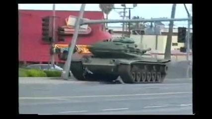 Откраднат танк бяга от полицията :)
