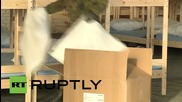 Germany: Army prepare refugee shelter at Berlin's Tempelhof