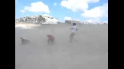 Самолет издухва хората на плажа - Смях !