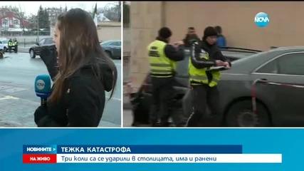 Дете пострада при тежка катастрофа между три автомобила в София