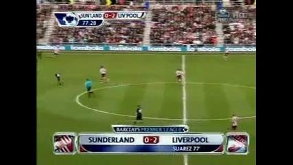 Луис Суарес вкара от почти нулев ъгъл Sunderland 0:2 Liverpool
