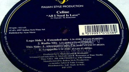 Celine - All I Need Is Love ( Extended Mix ) ( Italodance 1997 )
