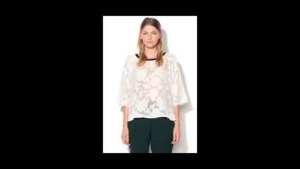 b.young Бяла блуза с флорална шарка