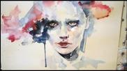 абстрактен портрет с акварел