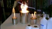 Домашно направена мини печка от тенекия, тоалетна хартия и спирт