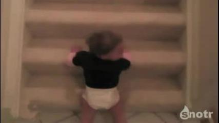 Ето така се слиза по стълбите (смях)