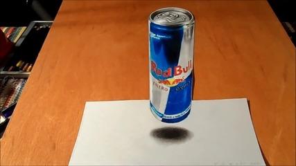 Страхотна Илюзия - 3d рисуване на Red Bull