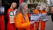 UK: Activists erect giant Guantanamo doll in front of US embassy in London
