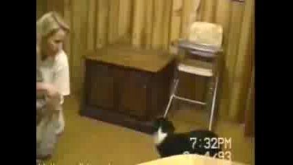 Куче помага на майка да сменя памперси