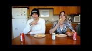 Nasal Napalm Hot Dog Challenge Mom vs Son