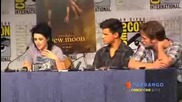 New Moon cast at the Comic Con Press Conf Taylor Lautner Kristen Stewart Robert Pattinson