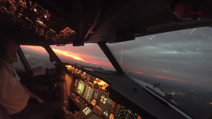 Излитане на «боинг» снимано от вторият пилот