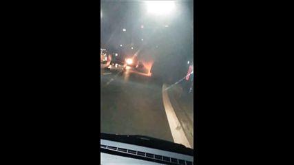 Автомобил с газова уредба се запали в тунел