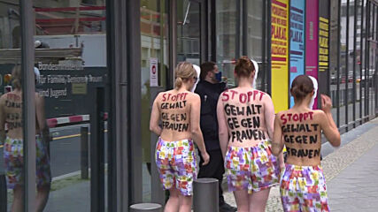 Germany: Topless Femen activists protest in front of federal ministry *EXPLICIT CONTENT*