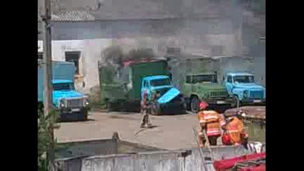 Пожар избухна в камион