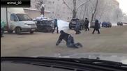 Пияни пешеходци на пътя в Русия