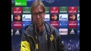 Треньора на Борусия- Юрген Клоп изпада в истеричен смях на пресконференция след мача с Арсенал 26.11