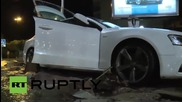 France: Cars litter the streets after deadly flooding on the Riviera