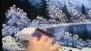 S01 Радостта на живописта с Bob Ross E06 - зимна луна ღобучение в рисуване, живописღ