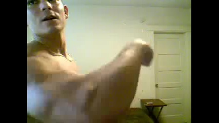 20 yr old college jock flexing on webcam pt.1