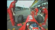 Schumacher Crashes Into A Pit Crew