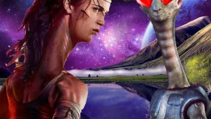Lara Croft is neck deep in Photoshop