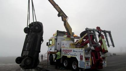 Изваждане на Опел от 5 метров изкоп на Ам Марица 30.01.2015