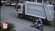 Ужасен инцидент с моторист и Камион