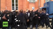 France: Lawyers clad in work robes clash with police outside courthouse