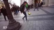 Сексапилна магьосница с професионални футболни умения