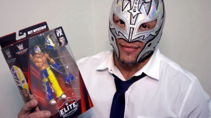 Rey Mysterio shows off his WWE Network Spotlight Mattel action figure