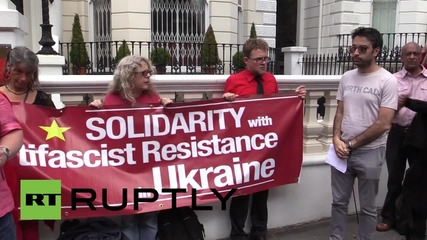 UK: Protesters rally against political repression outside Ukrainian embassy