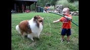 baby and dog play with hose