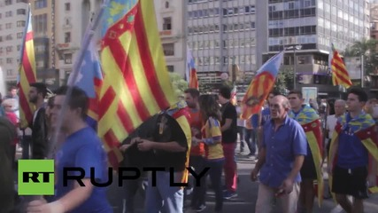 Spain: Valencian nationalists rally against Mayor Joan Ribo on national holiday