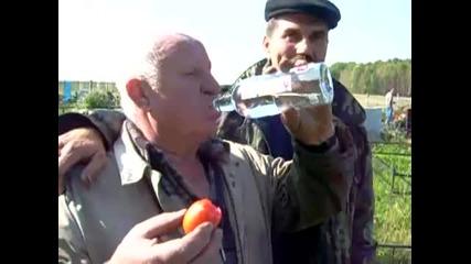 Така се пие водка !!! Салата-домат ;-d