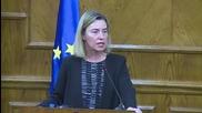 Федерика Могерини се разплака по време на изявление за терора в Брюксел
