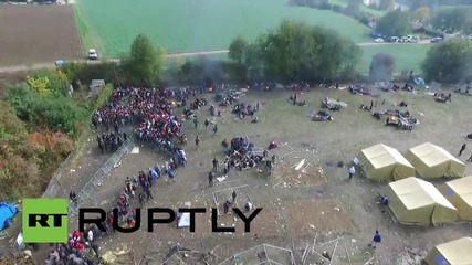 Slovenia: Drone captures fire-damaged Brezice refugee camp