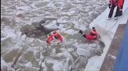 Брегова охрана спасява куче от ледени води