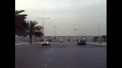 Drifting by Porsche Carrera GT and BMW M5