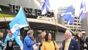 UK: Scottish independence activists rally SNP conference to show support