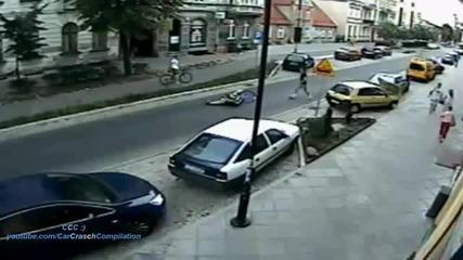 Инцидент !!! Хлапе събаря велосипедист!