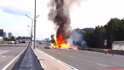 Какво става когато камион с газови бутилки се запали