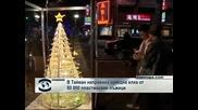 В Тайван направиха коледна елха от 80 000 пластмасови лъжици