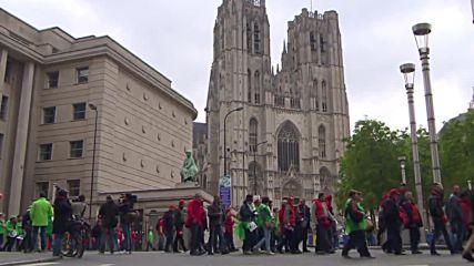 Протест на синдикатите в Брюксел
