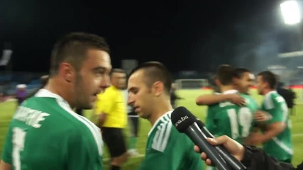 Футболистите на Лудогорец след финала за Купата на България