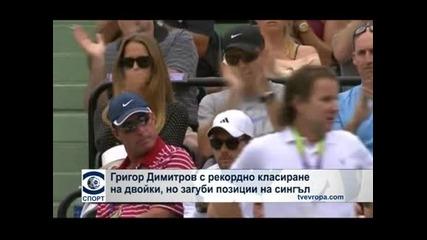 Григор Димитров с рекордно класиране на двойки, но с няколко места надолу на сингъл