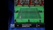 Тенис Класика : Сампрас чупи ракетата си след сервис на Рафтър