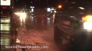 Светкавици и улично наводнение в Карлсбад , Ню Мексико 24.5.2014