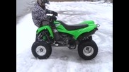 kawasaki kfx 700 stunt in the snow