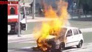 Кола изгоря като факла на Централната спирка в Бургас
